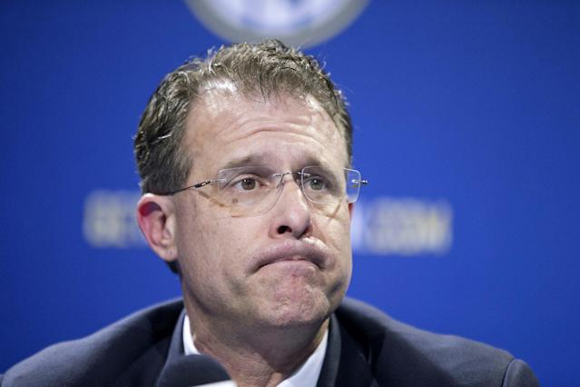 Auburn head coach Gus Malzahn pauses while speaking at a press conference ahead of Saturday's Southeastern Conference championship college football game against Missouri, Friday, Dec. 6, 2013, in Atlanta. (AP Photo/David Goldman)
