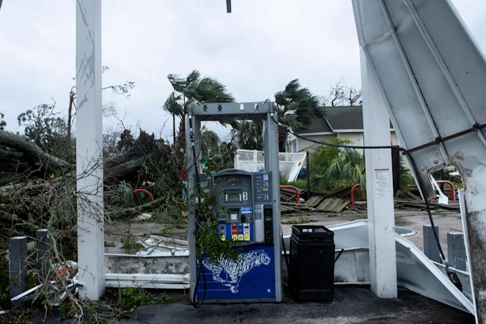 <p>Storm damage is seen after Hurricane Michael in Panama City, Fla., on Oct. 10, 2018. (Photo: Brendan Smialowski/AFP/Getty Images) </p>