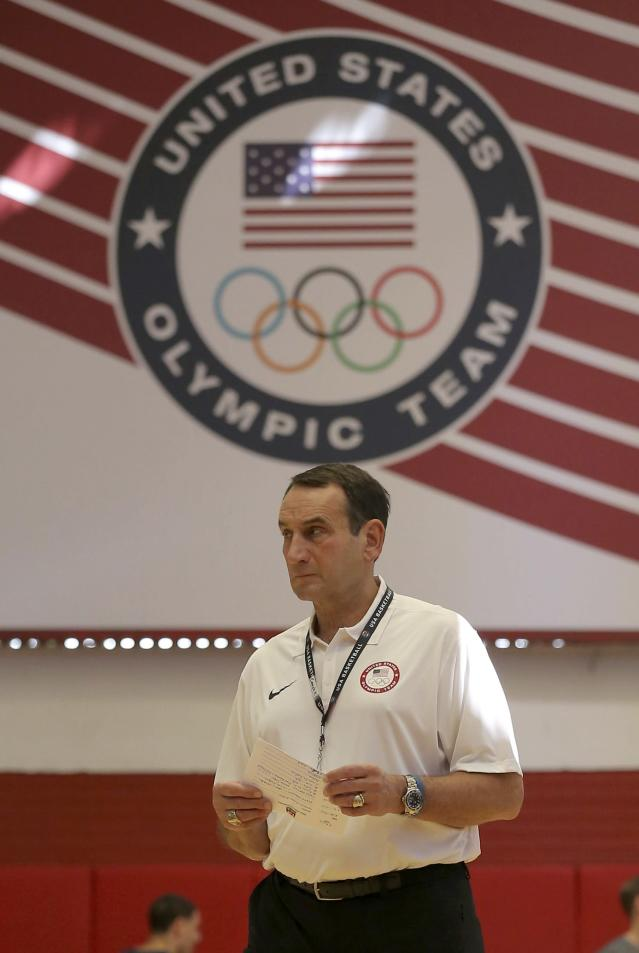 2016 Rio Olympics - Basketball - Preliminary - USA men's training session - Flamengo Club - Rio de Janeiro, BrazilHead coach Mike Krzyzewski of the U.S. is seen during training. REUTERS/Jim Young FOR EDITORIAL USE ONLY. NOT FOR SALE FOR MARKETING OR ADVERTISING CAMPAIGNS.