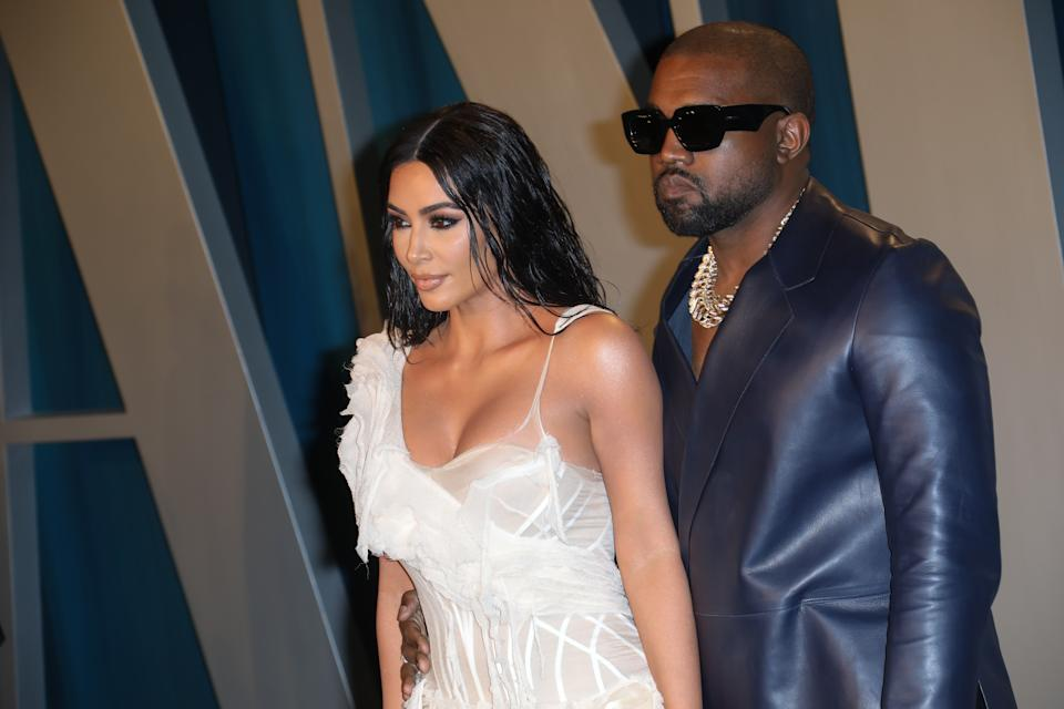 Kim Kardashian and Kanye West attend the 2020 Vanity Fair Oscar Party at Wallis Annenberg Center for the Performing Arts on February 09, 2020 in Beverly Hills, California