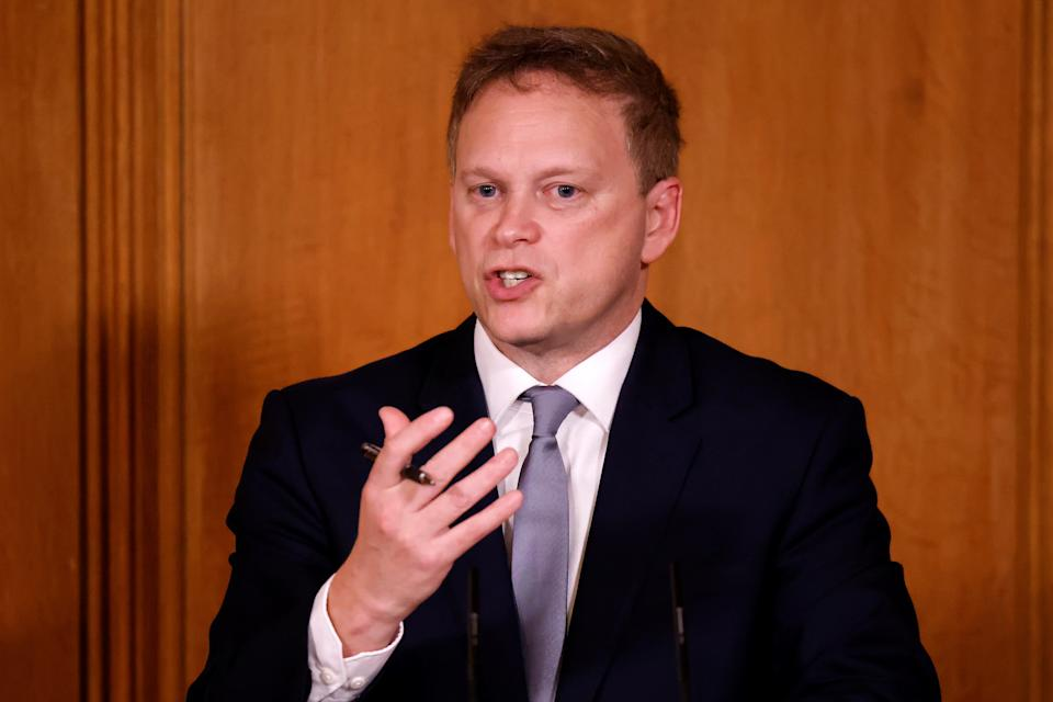 Transport Secretary Grant Shapps during a media briefing in Downing Street, London, on Covid-19.