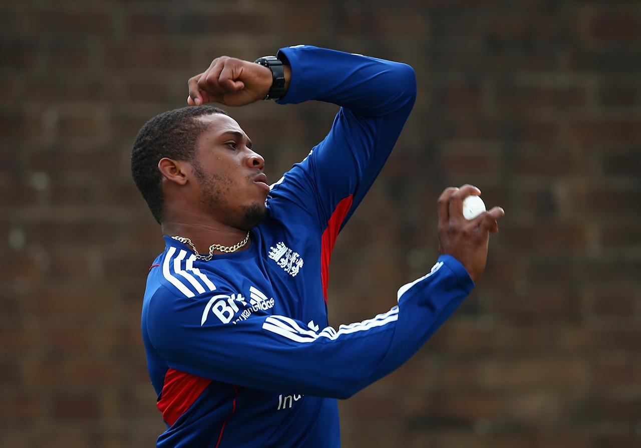 BIRMINGHAM, ENGLAND - SEPTEMBER 10:  Chris Jordan of England in action during a net session ahead of the third NatWest One Day International Series match between England and Australia at Edgbaston on September 10, 2013 in Birmingham, England.  (Photo by Clive Mason/Getty Images)