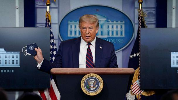 PHOTO: President Donald Trump holds a face mask as he speaks during a news conference at the White House, July 21, 2020. (Evan Vucci/AP)
