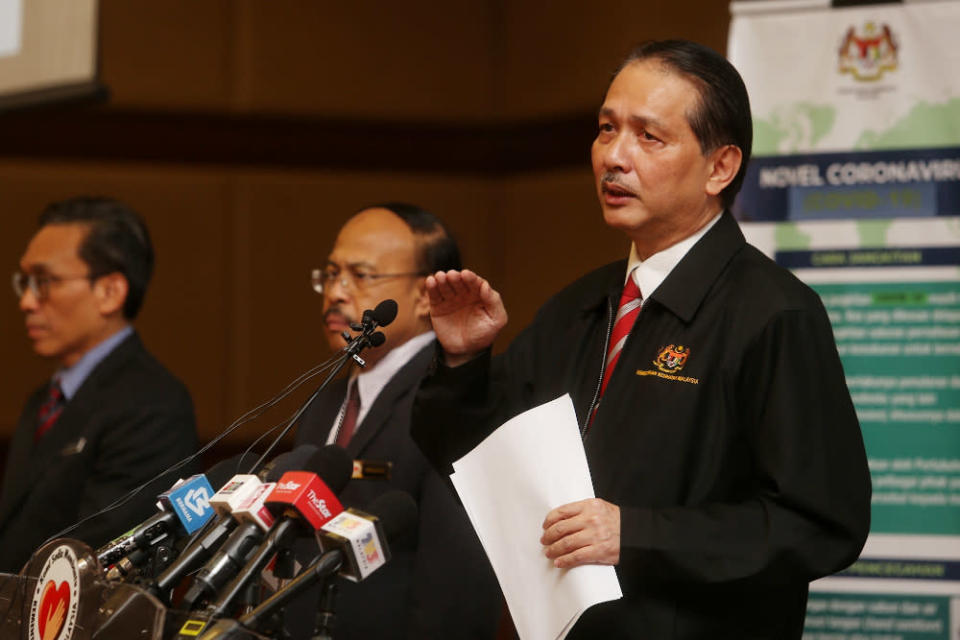 Health director-general Datuk Dr Noor Hisham Abdullah said sixty per cent of Malaysia's 65 Covid-19 deaths involve those aged 60 and older. — Picture by Choo Choy May