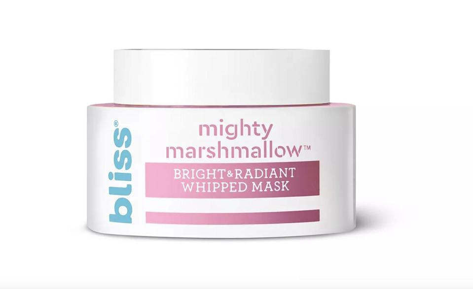 "<p>The <span>Bliss Mighty Marshmallow Bright &amp; Radiant Face Mask</span> ($15) will revive skin giving you a fresh, ""glow from within"" skin.</p>"