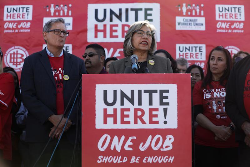 Geoconda Argüello-Kline, secretary-treasurer of the Culinary Workers Union, announced on Feb. 13 that the union would not be endorsing in the presidential primary. (Photo: Alex Wong/Getty Images)