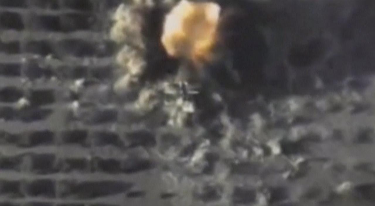 A still image taken from a video footage and released by Russia's Defence Ministry on September 25, 2017, shows a missile hitting a target which Defence Ministry said was an Islamic State position in Syria. Russian Defence Ministry/Handout via REUTERS TV  ATTENTION EDITORS - THIS IMAGE HAS BEEN SUPPLIED BY A THIRD PARTY. NO RESALES. NO ARCHIVE.