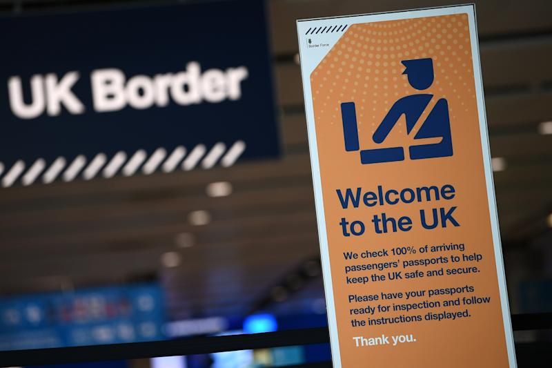 UK border signage is pictured at the passport control in Arrivals in Terminal 2 at Heathrow Airport in London on July 16, 2019 (Photo by Daniel LEAL-OLIVAS / AFP) (Photo credit should read DANIEL LEAL-OLIVAS/AFP/Getty Images)