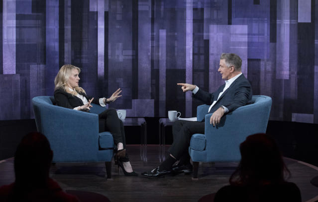 "Kate McKinnon and Alec Baldwin analyze their Hillary Clinton and Donald Trump impersonations on ""Sundays with Alec Baldwin."" (Photo: Heidi Gutman/ABC)"