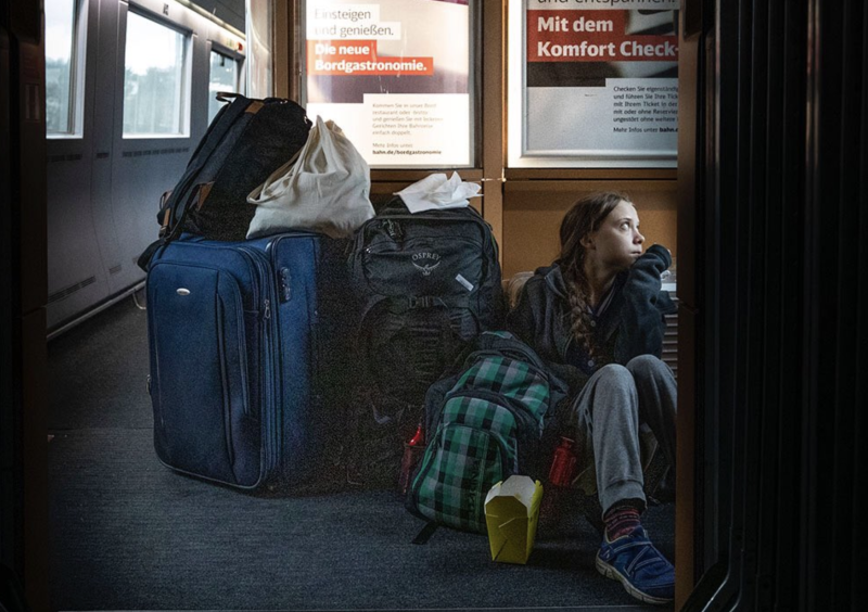 Greta Thunberg became embroiled in a Twitter spat on Sunday with Germany's national rail service. Source: Twitter