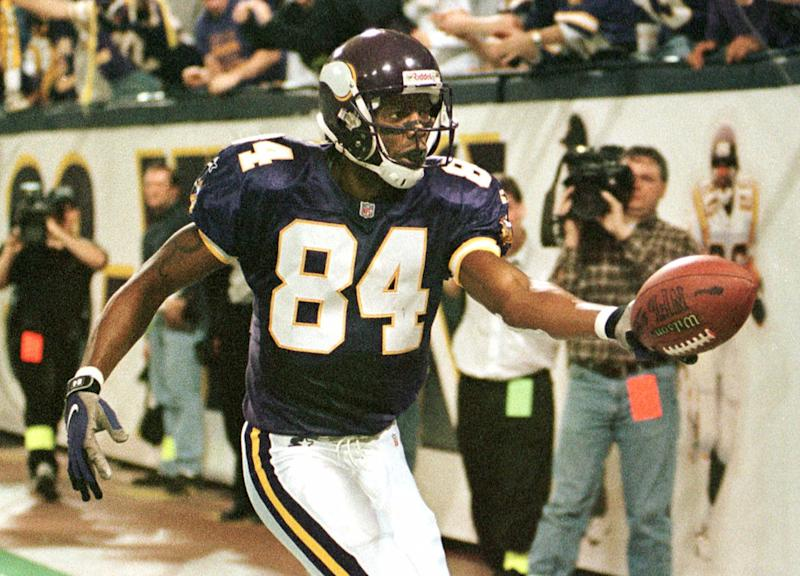 Minnesota Vikings wide receiver Randy Moss (84) had a remarkable three-year stretch to start his career. (AP Photo/Tom Olmscheid)