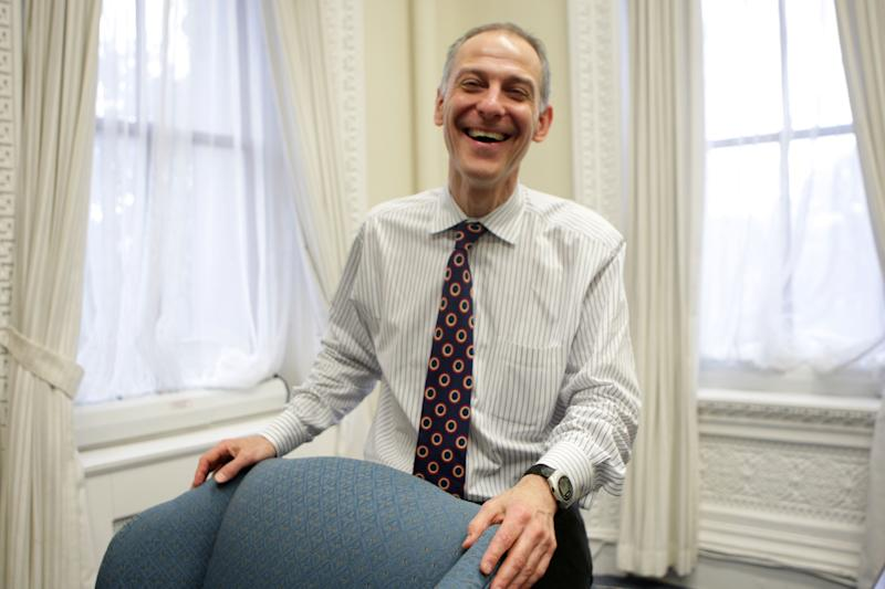 Dr. Zeke Emanuel, older brother of Rahm and now working in the administration on health care reform, is interviewed in an office in the Old Eisenhower Office Building in Washington, D.C., March 16, 2009. (Photo by Nancy Stone/Chicago Tribune/Tribune News Service via Getty Images)