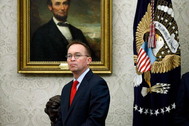 PHOTO: Acting chief of staff Mick Mulvaney listens as President Donald Trump and Turkish President Recep Tayyip Erdogan meet in the Oval Office with Republican senators at the White House Wednesday, Nov. 13, 2019, in Washington. (Patrick Semansky/AP Photo)