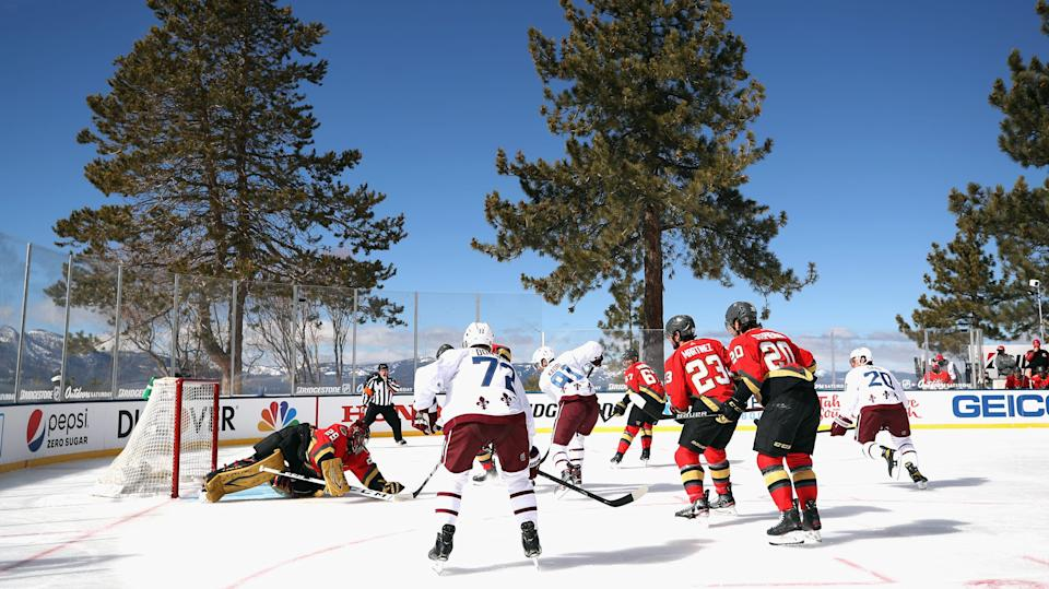 """Gary Bettman said Saturday that the bright sun """"did a number"""" on the ice, rendering the surface unplayable and forcing a delay of the outgame game between Vegas and Colorado. (Getty)"""