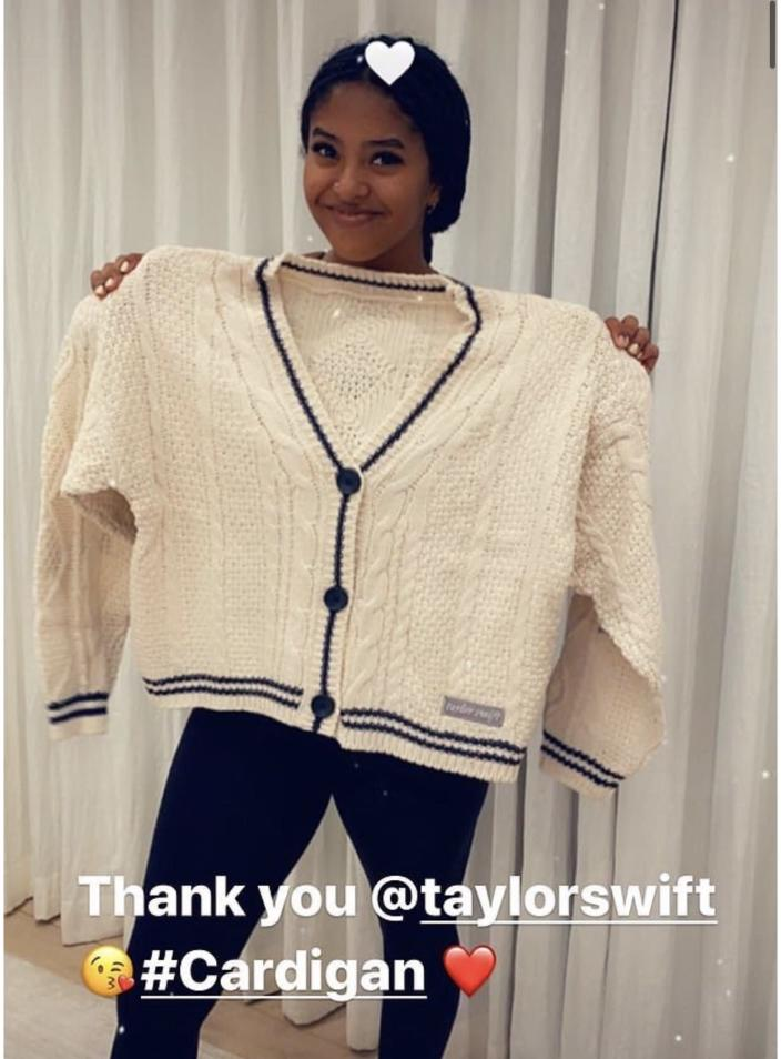 Natalia Bryant shows off her new cardigan from Taylor Swift. (Photo: Instagram)