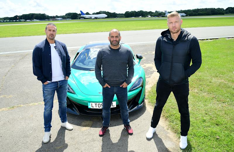 EMBARGOED TO 0001 MONDAY JUNE 10 (left to right) Paddy McGuinness, Chris Harris and Freddie Flintoff with a McLaren 600LT on the Top Gear test track in Dunsfold Park, Cranleigh, during the media launch for the new series of Top Gear which airs later this month.