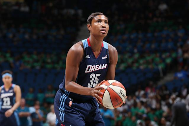 <p>The former first-overall draft pick was part of the 2012 national team that captured gold in London and will be looking to add on to that international resume in Rio. McCoughtry is a four-time WNBA all-star and also plays overseas in Turkey. She came out by posting an Instagram photo with her fiancée last spring. (Getty) </p>