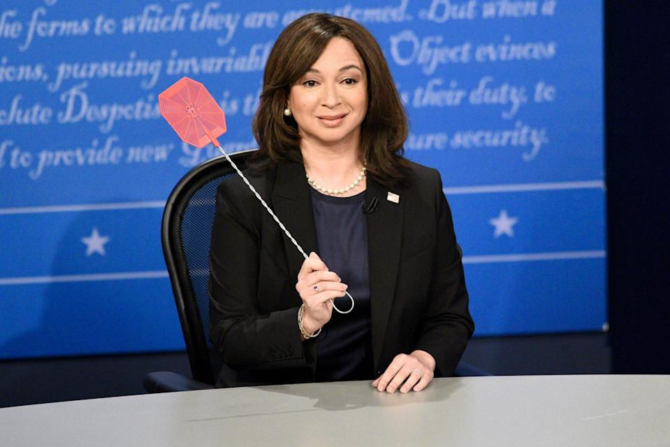 "<p>Maya Rudolph plays Kamala Harris during the ""VP Fly Debate"" cold open on <em>Saturday Night Live</em> in N.Y.C.</p>"
