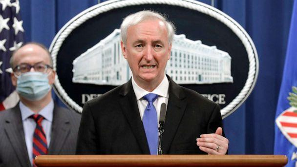 PHOTO: Deputy Attorney General Jeffrey Rosen holds a news conference at the Justice Department on Oct. 21, 2020, in Washington, D.C. (Pool/Yuri Gripas-Pool/Getty Images, FILE)