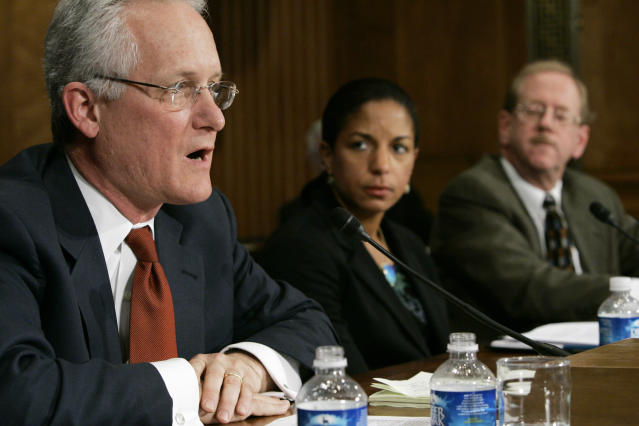 J. Stephen Morrison, left, of the Center for Strategic and International Studies testifies before the Senate Foreign Relations Committee in 2007. (Charles Dharapak/AP)