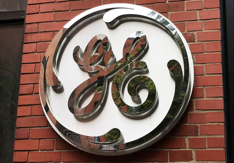 The General Electric Co. logo is seen on the company's corporate headquarters building in Boston