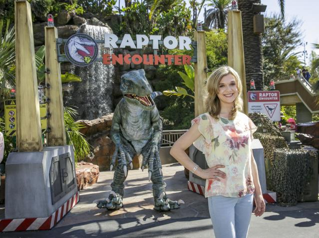 Actress Ariana Richards visits Jurassic Park the ride at Universal Studios Hollywood. (Photo: David Sprague)