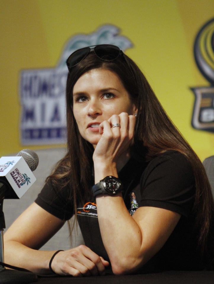 NASCAR driver Danica Patrick talks to the media about her career, Friday, Nov. 16, 2012 at the Homestead-Miami Speedway in Homestead, Fla. (AP Photo/David Graham)