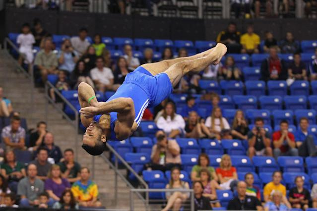 ST. LOUIS, MO - JUNE 7: Danell Leyva competes in the floor exercise during the Senior Men's competition on day one of the Visa Championships at Chaifetz Arena on June 7, 2012 in St. Louis, Missouri. (Photo by Dilip Vishwanat/Getty Images)