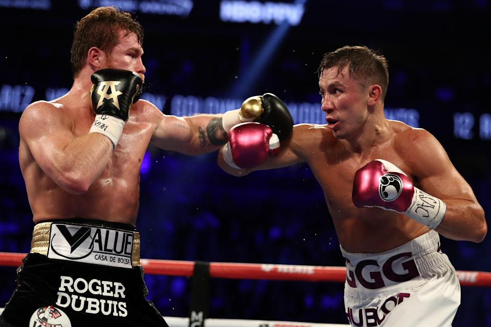 Gennady Golovkin and Canelo Alvarez battle during their WBC/WBA middleweight title fight at T-Mobile Arena on Sept. 15, 2018 in Las Vegas, Nevada. (Getty)
