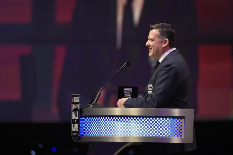 Tony Stewart talks about his career as a driver and team owner during the NASCAR Hall of Fame induction ceremony in Charlotte, N.C., Friday, Jan. 31, 2020. (AP Photo/Mike McCarn)