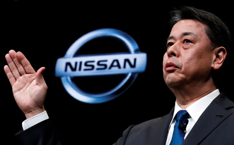 FILE PHOTO: Nissan Motor's CEO Makoto Uchida speaks at a news conference in Yokohama
