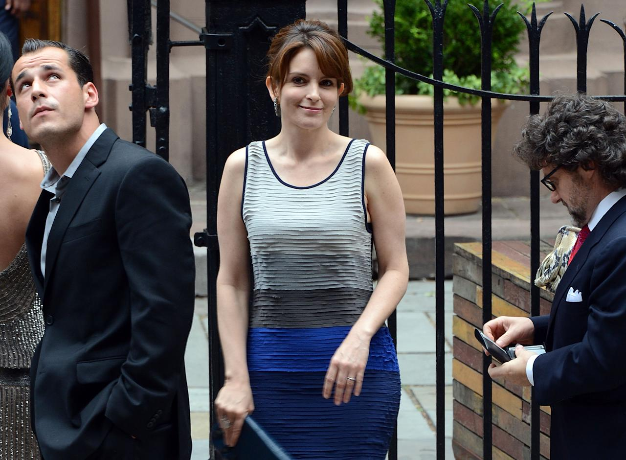 NEW YORK, NY - JUNE 30:  Tina Fey arrives at Alec Baldwin and Hilaria Thomas' wedding ceremony at St. Patrick's Old Cathedral on June 30, 2012 in New York City.  (Photo by Andrew H. Walker/Getty Images)