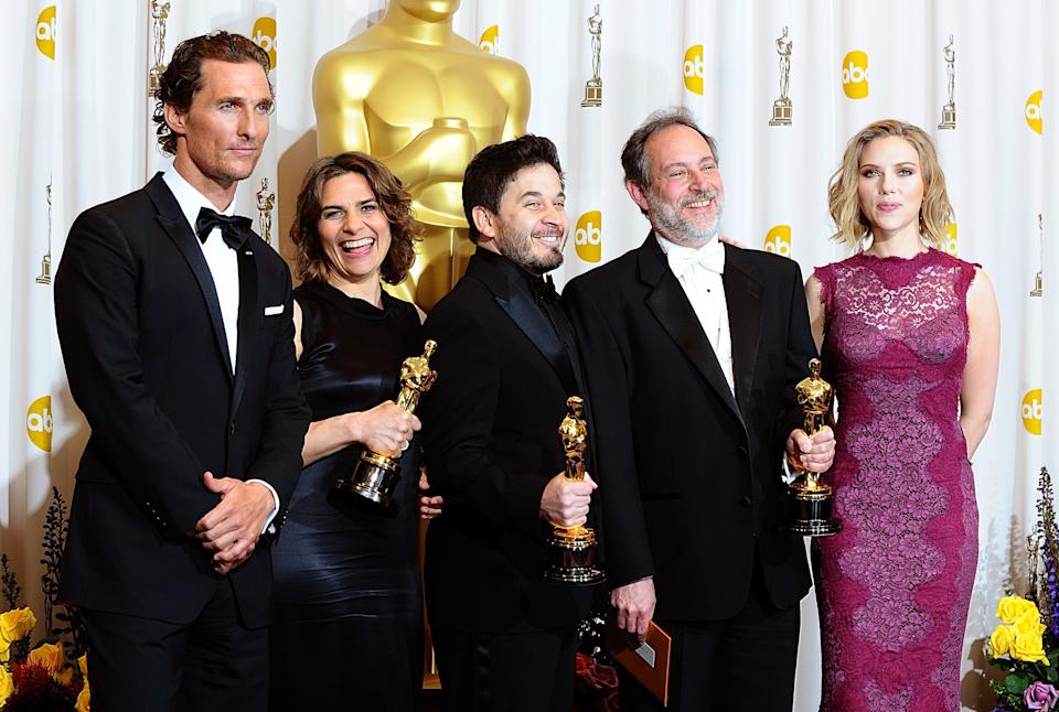 ** Lora Hirschberg (left), Gary Rizzo (centre) and Ed Novick (right) with the Best Sound Mixing award, received for Inception, with Matthew McConaughey and Scarlett Johansson at the 83rd Academy Awards at the Kodak Theatre, Los Angeles.