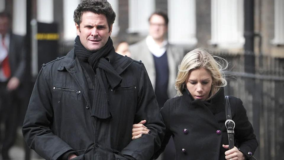 Seen here, Chris Cairns and wife Melanie walk arm in arm together.