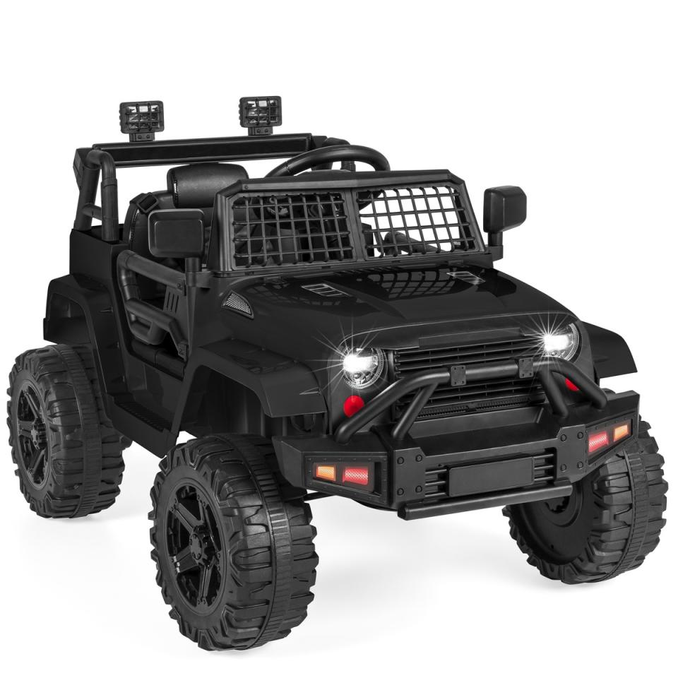 Black ride-on toy truck for kids