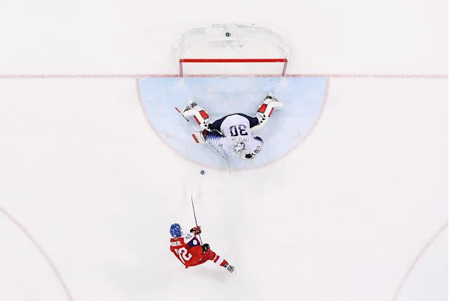 <p>Petr Koukal #42 of the Czech Republic scores the game-winning goal against Ryan Zapolski #30 of the United States in the overtime penalty-shot shootout to win the Men's Play-offs Quarterfinals 3-2 on day twelve of the PyeongChang 2018 Winter Olympic Games at Gangneung Hockey Centre on February 21, 2018 in Gangneung, South Korea. (Photo by Ronald Martinez/Getty Images) </p>