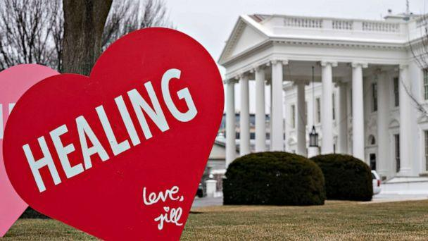 PHOTO: First Lady Jill Biden has installed giant Valentine's messaged on the North Lawn of the White House early on Feb. 12, 2021. (Evan Vucci/AP)