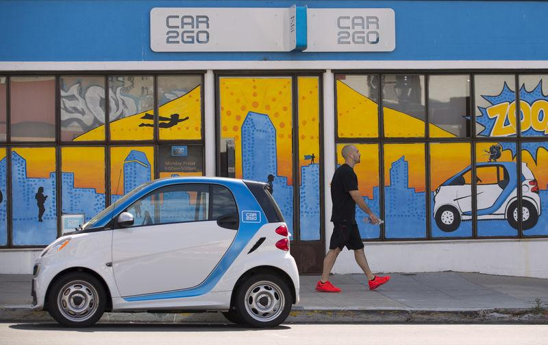 File Photo A Man Walks Past An Electric Car From The Sharing Company Car2go