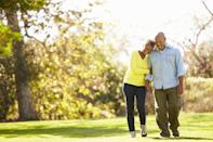 """Location, location, location. Walking in green spaces could give you a bigger mood boost than simply strolling around the block. In a 2015 study published in the <em>British Journal of Sports Medicine</em>, adults took a <a href=""""https://www.ncbi.nlm.nih.gov/pubmed/23467965"""" rel=""""nofollow noopener"""" target=""""_blank"""" data-ylk=""""slk:25-minute walk"""" class=""""link rapid-noclick-resp"""">25-minute walk</a> through three different locations in Edinburgh, Scotland: a shopping street, a commercial area, and a green path. Meanwhile, a device measured brain activity to gauge their emotions. When the walkers were in surrounded by green space, they were less frustrated, engaged, and aroused, and more meditative."""