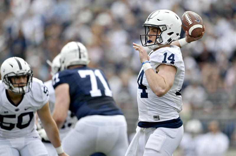 Penn State quarterback Sean Clifford (14) throws a pass during the Blue-White spring scrimmage on Saturday, April 13, 2019, in University Park, Pa. (Abby Drey/Centre Daily Times/TNS via Getty Images)