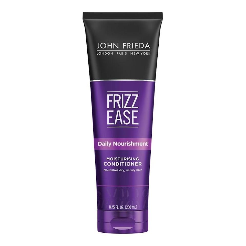 """<h2>Best Drugstore<br></h2><br><h3>John Frieda Frizz Ease Daily Nourishment Conditioner<br></h3><br>Meet frizz's worst nightmare. John Frieda's fan-favorite drugstore conditioner contains silk proteins to hydrate and repair strands.<br><br><strong>What They're Saying:</strong> """"Ok, so I'm a middle-aged guy who's had to deal with frizzy, rough hair ever since I can remember. It was quite manageable until it started thinning out. I found Frizz Ease a few years ago and have been hooked. Here's why. It won't weigh your hair down or make it too stiff. Once it dries and is slightly stiff, I run a wet comb through the hair and it shapes the hair perfectly, keeps it in place, and no more stiffness. This has been the best product I've found and plan to keep on using it, until I lose my hair, or John Frieda discontinues it, whichever comes first!""""<br><br><strong>John Frieda</strong> Frizz Ease Daily Nourishment Conditioner, $, available at <a href=""""https://amzn.to/3kzWsFH"""" rel=""""nofollow noopener"""" target=""""_blank"""" data-ylk=""""slk:Amazon"""" class=""""link rapid-noclick-resp"""">Amazon</a>"""