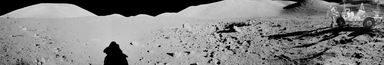 The individual images were taken by astronauts during the moon landings (Picture: NASA)