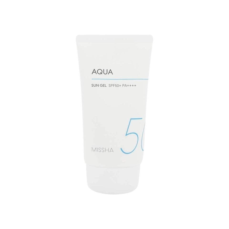 """<h3><a href=""""https://amzn.to/2P2cEiw"""" rel=""""nofollow noopener"""" target=""""_blank"""" data-ylk=""""slk:Missha Aqua Sun Gel SPF 50"""" class=""""link rapid-noclick-resp"""">Missha Aqua Sun Gel SPF 50</a></h3><br><strong>Serena</strong><br><br><strong>How She Discovered It:</strong> """"My coworker gave me her 12 step skincare routine and this is by far one of my favorite recommendations.""""<br><br><strong>Why It's A Hidden Gem:</strong> """"I used to associate SPF with sticky, slimy and something that would clog my pores. But leaving the house without SPF on my face makes me feel like having intercourse without a condom. UNPROTECTED. This sunscreen feels almost like a serum that sinks right into the skin and doesn't smell like I just made out with a lifeguard.""""<br><br><strong>Missha</strong> All-Around Safe Block Aqua Sun Gel, SPF 50, $, available at <a href=""""https://amzn.to/2P2cEiw"""" rel=""""nofollow noopener"""" target=""""_blank"""" data-ylk=""""slk:Amazon"""" class=""""link rapid-noclick-resp"""">Amazon</a>"""
