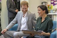 """<p>On receiving a <a href=""""https://www.elle.com/uk/life-and-culture/culture/a23582645/meghan-markle-artwork-dog-guy-dismantling-patriarchy/"""" rel=""""nofollow noopener"""" target=""""_blank"""" data-ylk=""""slk:picture of her dog dismantling the patriarchy"""" class=""""link rapid-noclick-resp"""">picture of her dog dismantling the patriarchy</a>, Meghan shared in laughter with her beau. </p>"""