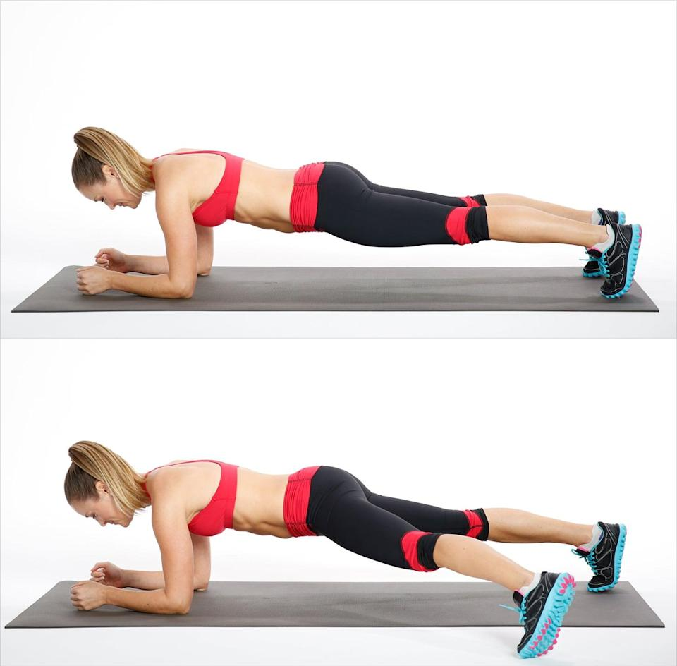 <ul> <li>Start in an elbow plank.</li> <li>Extend your left leg out to the side, gently tapping your toes on the ground. </li> <li>Bring your foot back into a plank. Repeat the same movement with your right leg to complete one rep.</li> </ul>