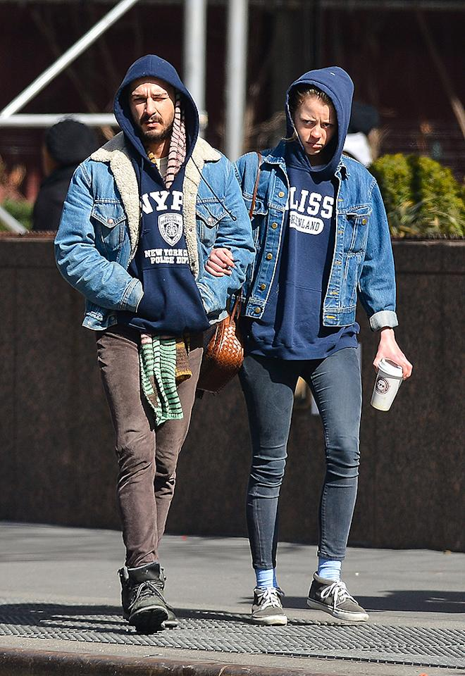 Shia LaBeouf and his reported girlfriend Mia Goth walk through Midtown Manhattan. Shia was seen walking ahead as Mia struggled to keep up with him. The couple eventually sat down over a cup of coffee on a park bench.      