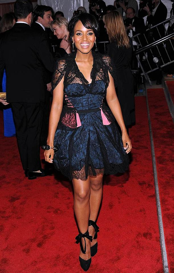 "Kerry Washington's lacey Louis Vuitton ensemble was reminiscent of something Madonna might have rocked during her ""Desperately Seeking Susan"" days! Dimitrios Kambouris/<a href=""http://filmmagic.com/"" target=""new"">FilmMagic.com</a> - May 4, 2009"