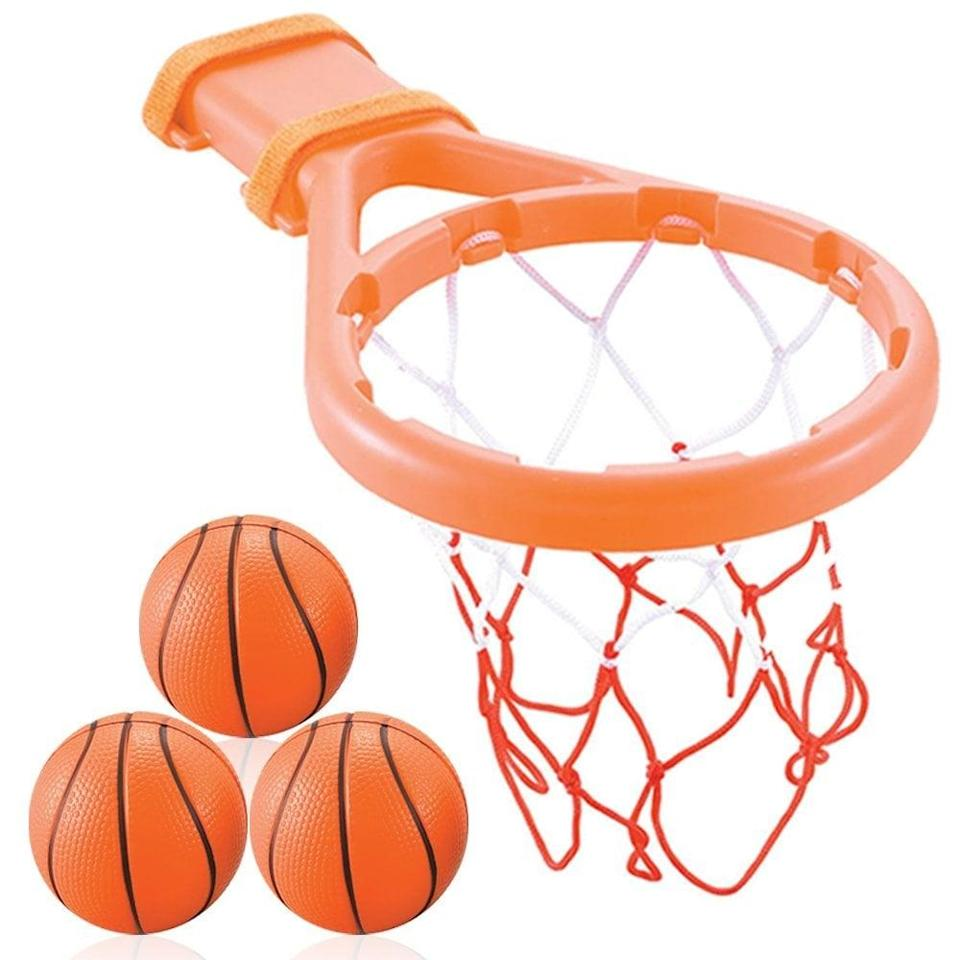 <p>This <span>3 Bees & Me Bath Toy Basketball Hoop & Balls Set</span> ($15) fits around 95 percent of bathtub faucets. It'll make any kid excited for bath time.</p>