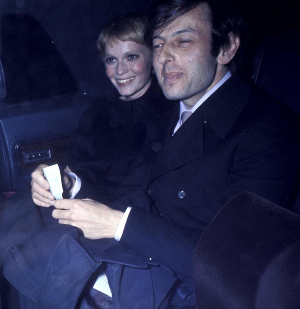 """<p>Allen and Farrow reportedly met in 1979, while Farrow was still married to her second husband, André Previn (pictured). She had married Previn in 1970, and together, they had multiple biological and adopted children, including Soon-Yi Previn. </p> <p>According to a 1991 <strong>New York Times</strong> profile, <a href=""""http://www.nytimes.com/1991/02/24/magazine/woody-and-mia-a-new-york-story.html"""" class=""""link rapid-noclick-resp"""" rel=""""nofollow noopener"""" target=""""_blank"""" data-ylk=""""slk:Allen and Farrow met at a restaurant"""">Allen and Farrow met at a restaurant</a> in New York City and moved in some of the same circles. Her divorce from Previn was finalized later that year.</p>"""