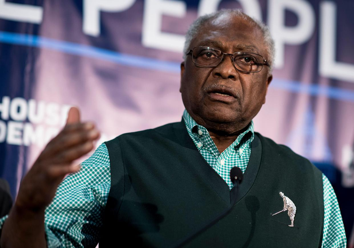 UNITED STATES - APRIL 10: House Majority Whip Jim Clyburn, D-S.C., speaks at the House Democrats' 2019 Issues Conference opening press conference at the Landsdowne Resort and Spa in Leesburg, Va., on Wednesday, April 10, 2019. (Photo By Bill Clark/CQ Roll Call)